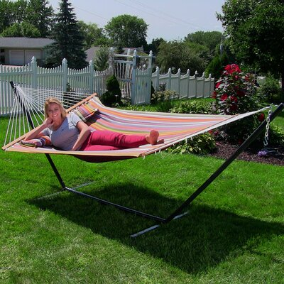 Quilted Double Fabric 2-Person Hammock with Stand Size: 48 H x 55 W x 128 D, Color: Canyon Sunset