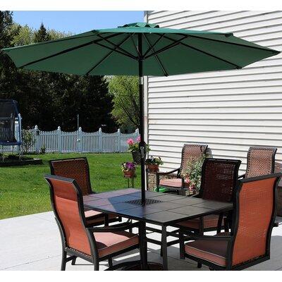 9 Aluminum Market Umbrella Fabric: Green