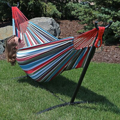 Brazilian Jumbo Double Tree Hammock Color: Cool Breeze