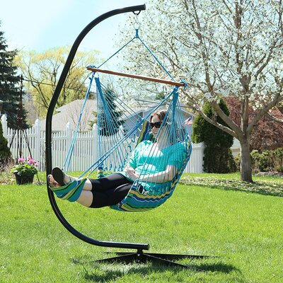 Hanging Padded Soft Cushioned Chair Hammock Color: Ocean Breeze