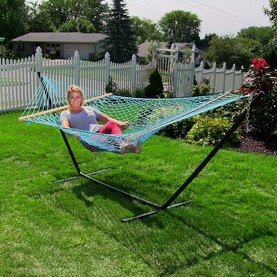 Caribbean Rope Hammock with Stand Color: Sky Blue