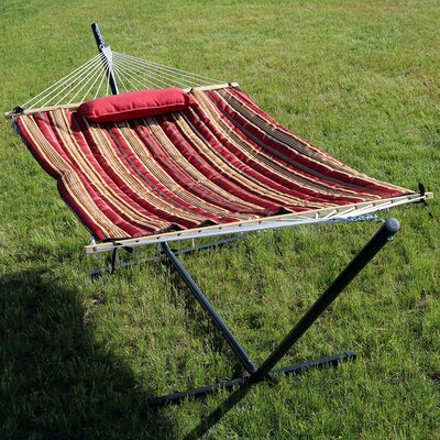 Rope Hammock with Stand Color: Awning Stripe