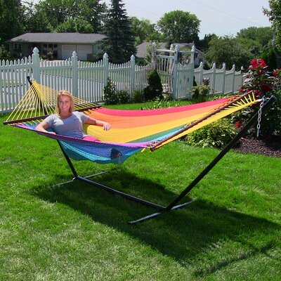 Large 2 Person Rope Hammock with Stand