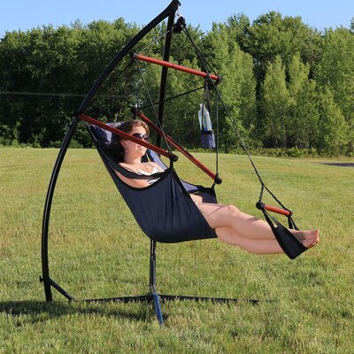 Durable Chair Hammock with Stand Color: Blue