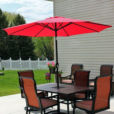 9 Aluminum Market Umbrella Fabric: Red