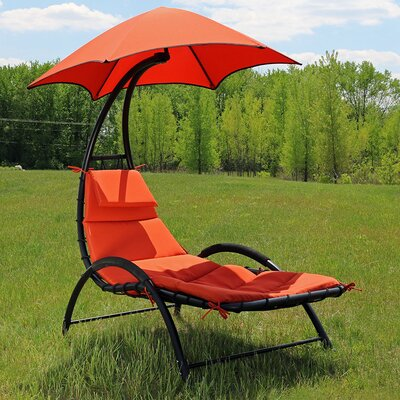 Chaise Lounge with Canopy and Removable Pad Fabric: Burnt Orange