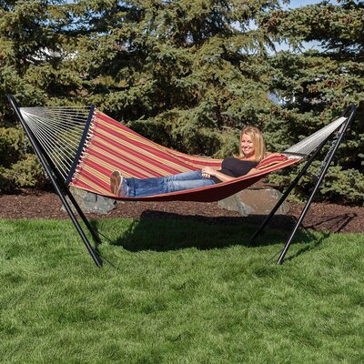 Quilted Double Fabric 2-Person Hammock with Stand Color: Red
