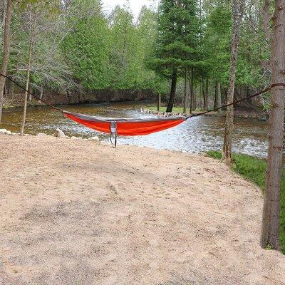 Portable Double Camping Hammock Color: Orange/Gray