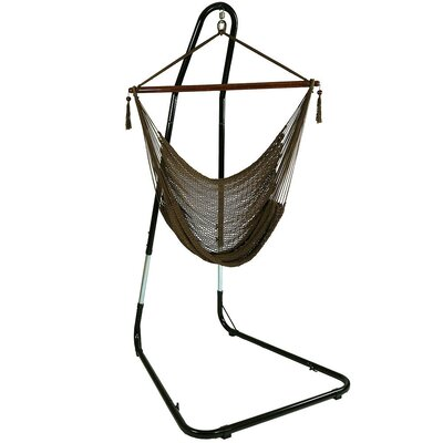 Caribbean Extra Large Chair Hammock with Stand Color: Mocha