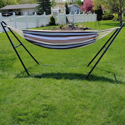 Brazilian Cotton Double Hammock with Stand Color: Calming Desert