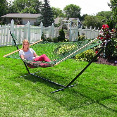 Caribbean Rope Hammock with Stand Color: Green