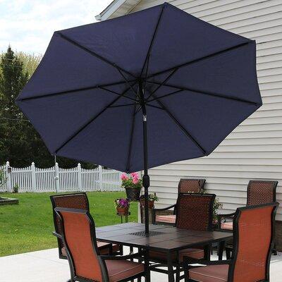 9 Aluminum Market Umbrella Fabric: Navy Blue