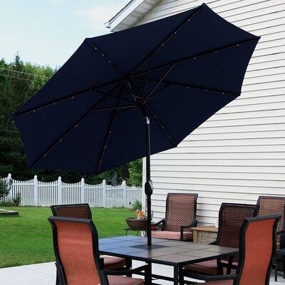 9 Aluminum Solar Illuminated Umbrella Fabric: Navy Blue