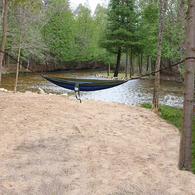 Portable Double Camping Hammock Color: Blue/Olive