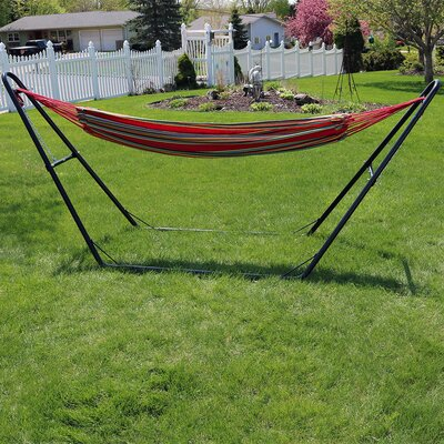 Brazilian Cotton Double Hammock with Stand Color: Sunset
