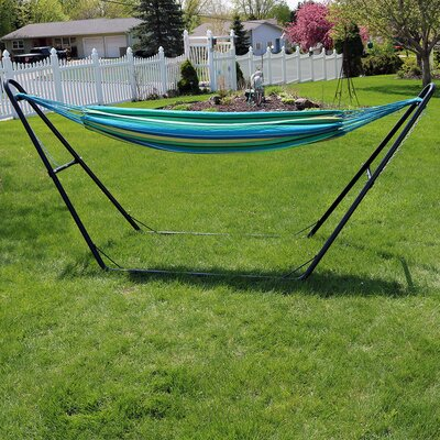 Brazilian Cotton Double Hammock with Stand Color: Sea Grass