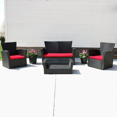 Brisbane 4 Piece Deep Seating Group with Cushion