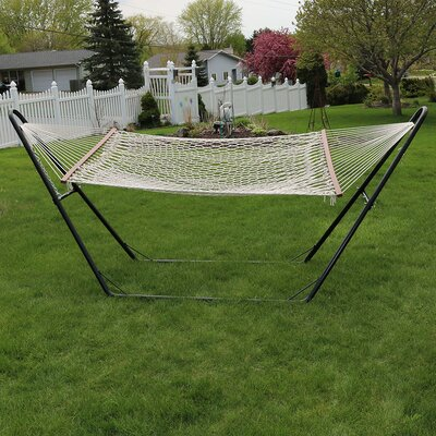 Cotton Double Wide 2-Person Rope Hammock with Stand