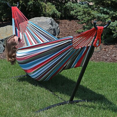 Brazilian Jumbo Double Hammock with Stand Color: Cool Breeze