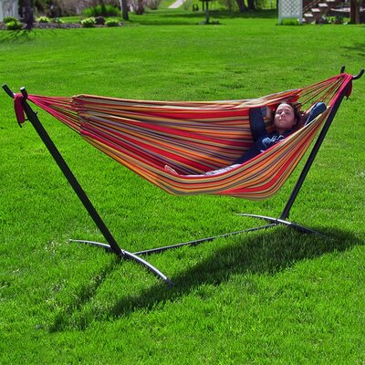 Brazilian Jumbo Double Hammock with Stand Color: Sunset