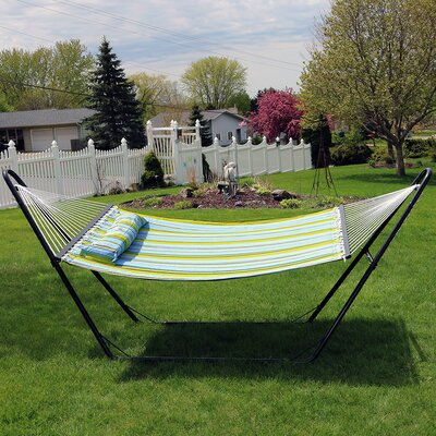 Quilted Double Fabric 2-Person Hammock with Stand Color: Blue/Green