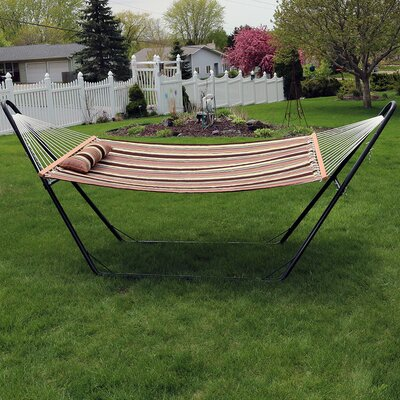 Quilted Double Fabric 2-Person Hammock with Stand Color: Sandy Beach