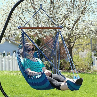 Hanging Padded Soft Cushioned Chair Hammock with Stand Color: Beach Oasis