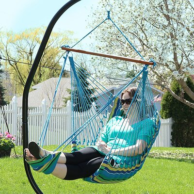 Hanging Padded Soft Cushioned Chair Hammock with Stand Color: Ocean Breeze
