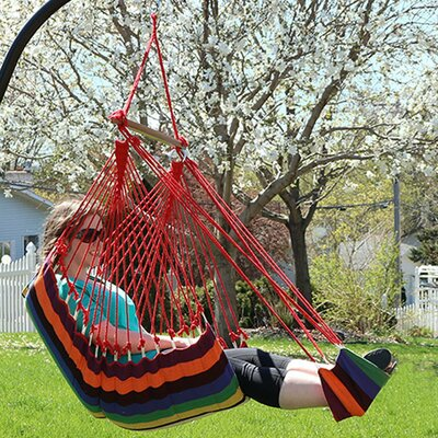 Hanging Padded Soft Cushioned Chair Hammock with Stand Color: Sunset