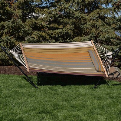 Cotton Fabric Hammock with Stand Color: Sunset Beach