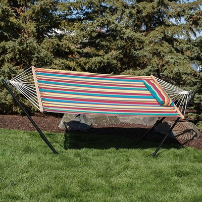 Cotton Fabric Hammock with Stand Color: Candy Stripe