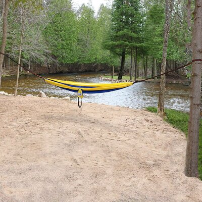 Portable Double Camping Hammock Color: Blue/Yellow
