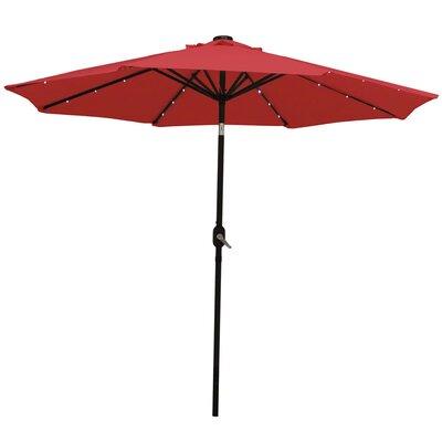 9 Aluminum Solar Illuminated Umbrella Fabric: Red