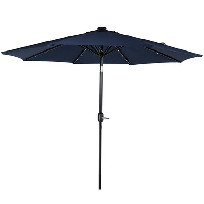 9 Aluminum Solar Illuminated Umbrella Fabric: Navy Blue