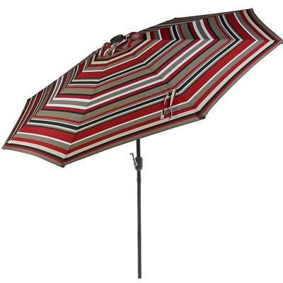 9 Aluminum Solar LED Lighted Illuminated Umbrella Fabric: Awning Stripe