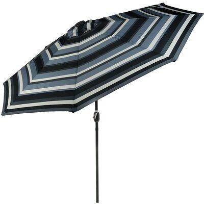 9 Aluminum Solar LED Lighted Illuminated Umbrella Fabric: Catalina Beach Stripe