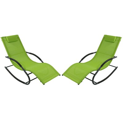 Rocking Wave Chaise Lounge with Pillow Finish: Green