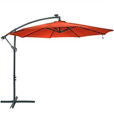 10 Steel Offset Solar LED Illuminated Umbrella Fabric: Burnt Orange