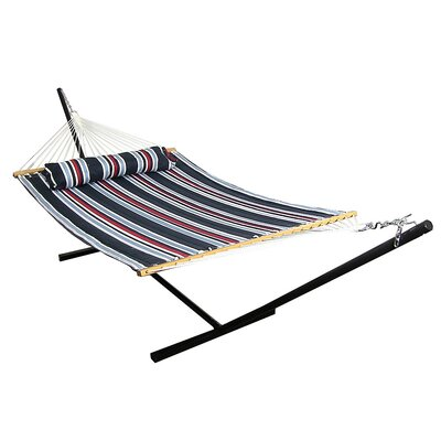 Quilted Double Fabric 2-Person Hammock with Stand Size: 48 H x 55 W x 156 D, Color: Nautical Stripe