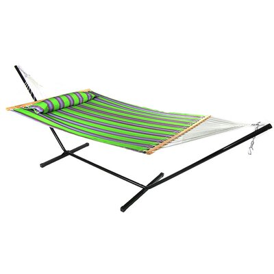 Quilted Double Fabric 2-Person Hammock with Stand Size: 48 H x 55 W x 156 D, Color: Midnight Jungle