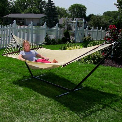 Large 2 Person Rope Hammock with Stand Color: Cream