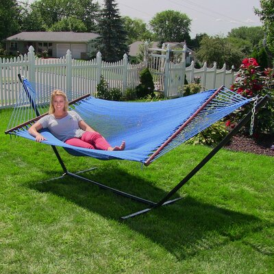 Large 2 Person Rope Hammock with Stand Color: Blue