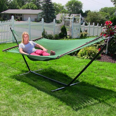 Large 2 Person Rope Hammock with Stand Color: Green
