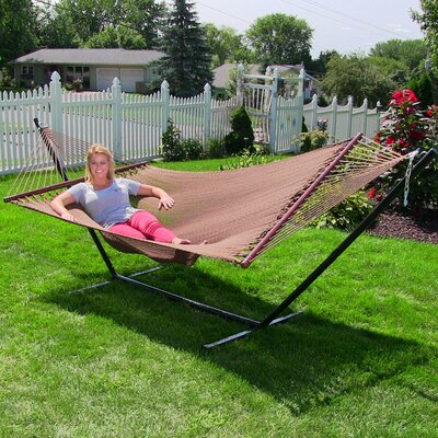 Large 2 Person Rope Hammock with Stand Color: Mocha