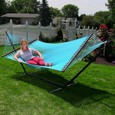 Large 2 Person Rope Hammock with Stand Color: Sky Blue