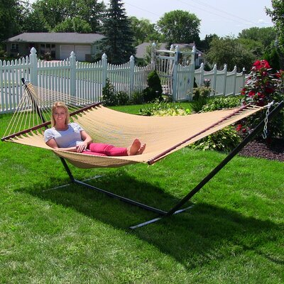 Large 2 Person Rope Hammock with Stand Color: Tan