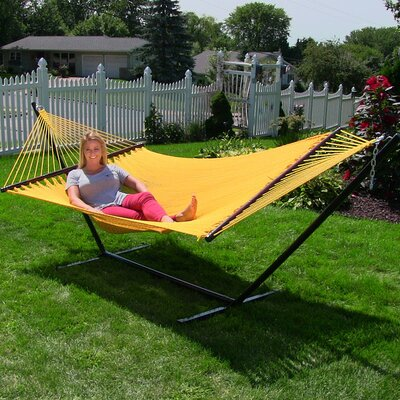 Large 2 Person Rope Hammock with Stand Color: Yellow