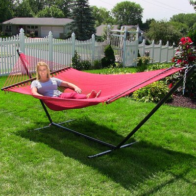 Large 2 Person Rope Hammock with Stand Color: Red