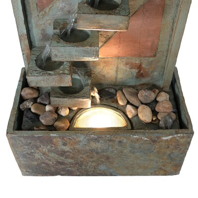 Slate Descending Staircase Outdoor Water Fountain with LED Spotlight GSI-828