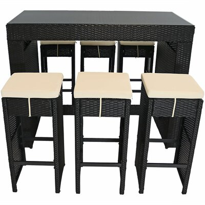 Squire 7-Piece Wicker Rattan Outdoor Patio Bar Set